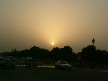 A sunset in Delhi
