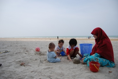 One of our favourite pastimes in Kelantan - playing in the sand